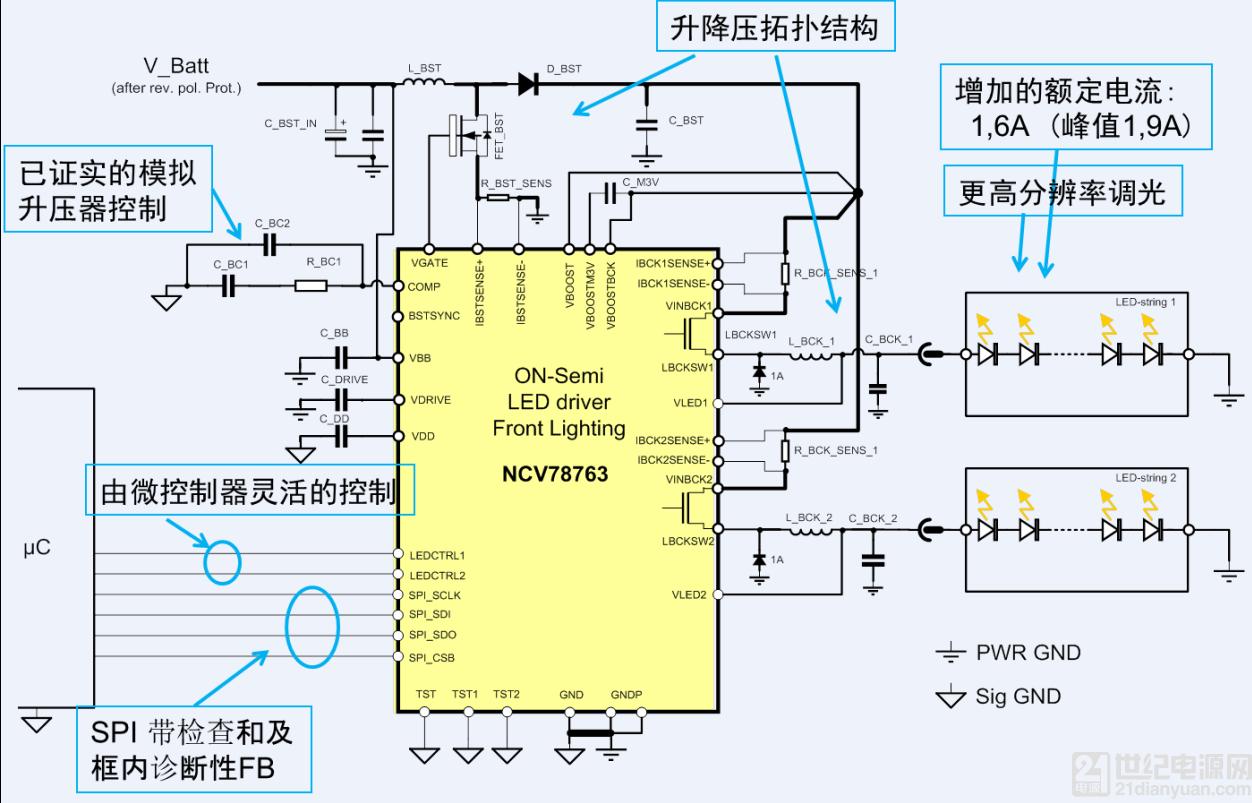在这种升降压两级架构中,led 由 buck 电路稳流,可易于提高调光频率
