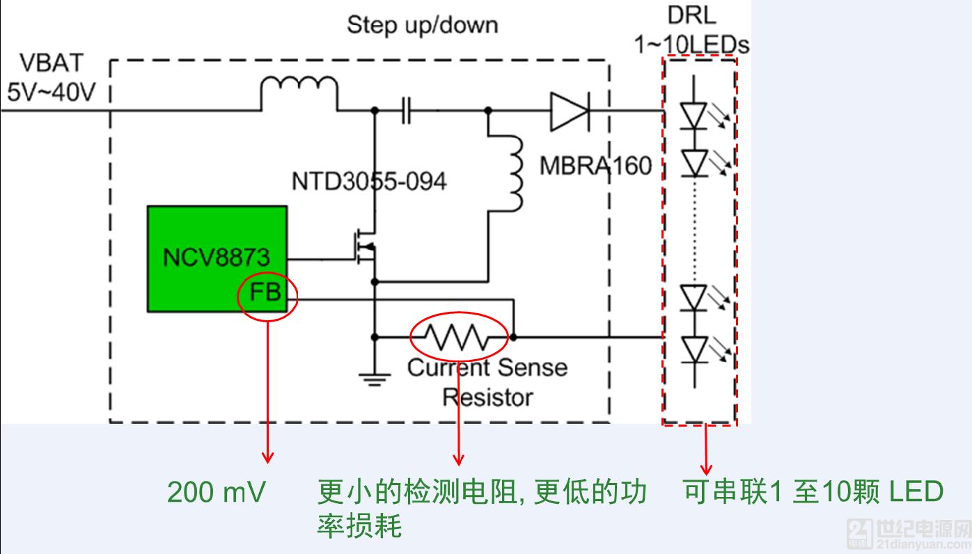 1. 恒流源 ccr   一颗芯片可驱动一串 led.