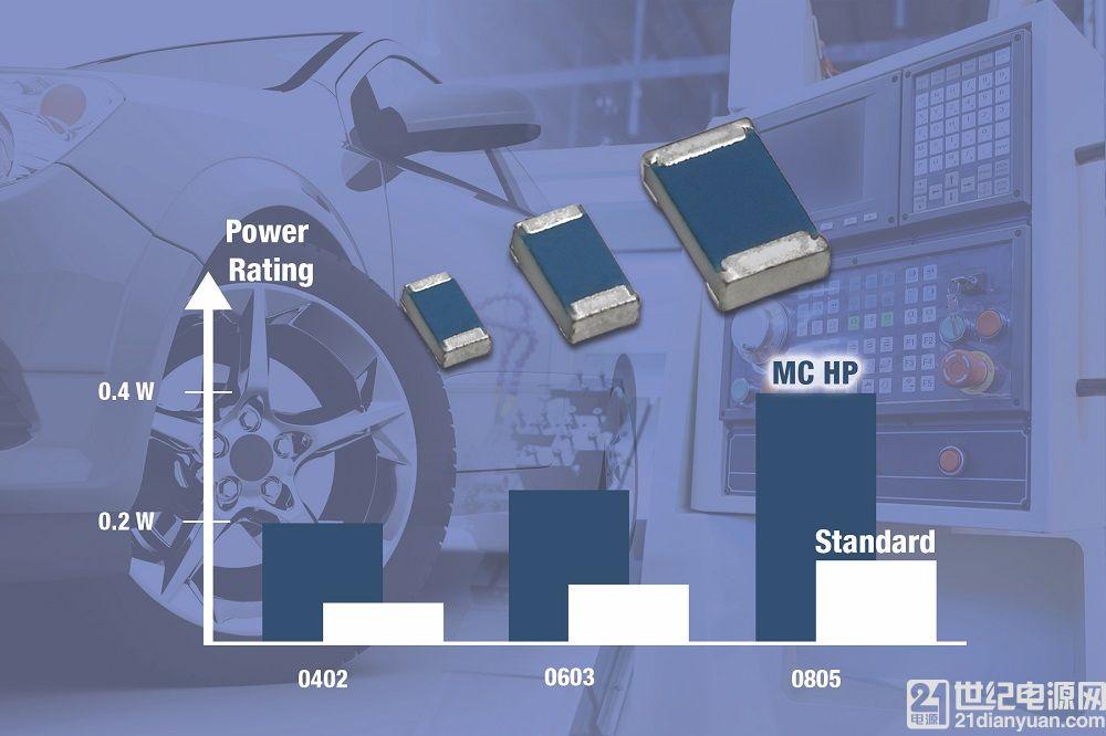 Vishay 新款高功率薄膜片式电阻可替换较大的器件或多个相同尺寸电阻来降低成本并节省空间