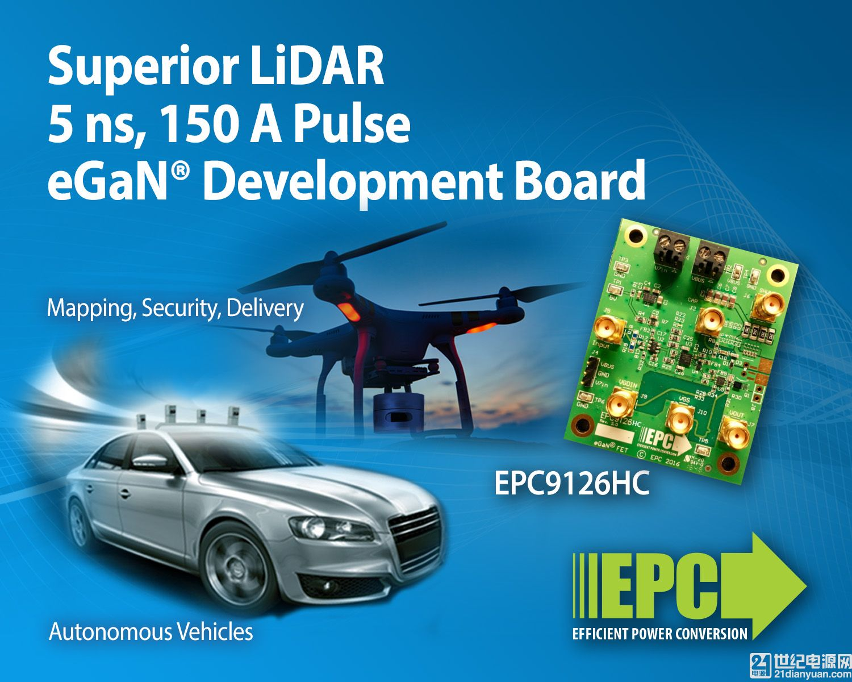 面向激光雷达应用并采用 EPC 氮化镓(eGaN)技术的150安培开发板可以驱动5 纳秒脉宽的脉冲电流