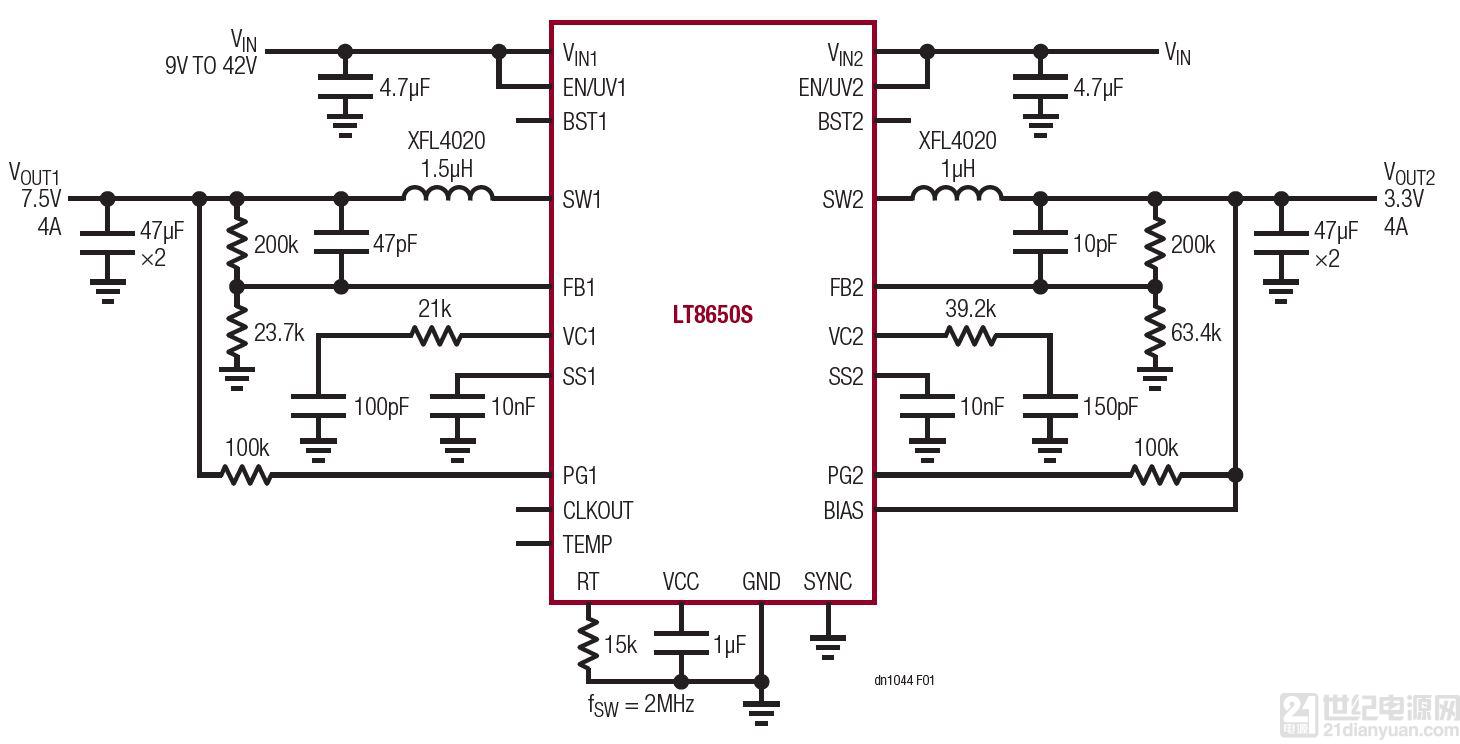 具 6.2μA 静态电流的双通道 42V、4A、单片式同步降压型 Silent Switcher 2