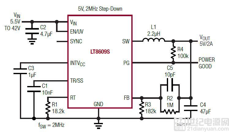 具 2.5μA 静态电流和超低 EMI 辐射的 42V、2A / 3A 峰值同步降压型稳压器