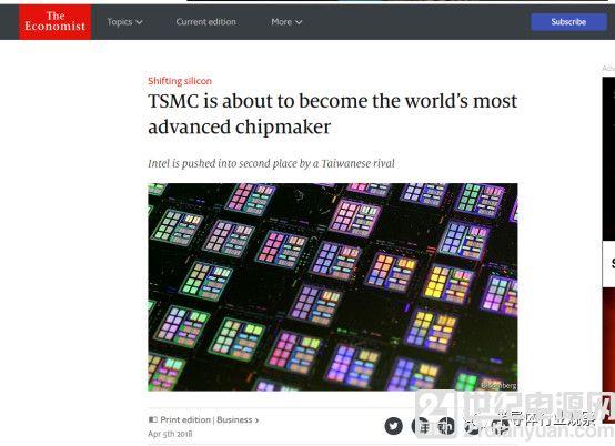 经济学人:TSMC 将首次超越 Intel,成为全球最强芯片制造者