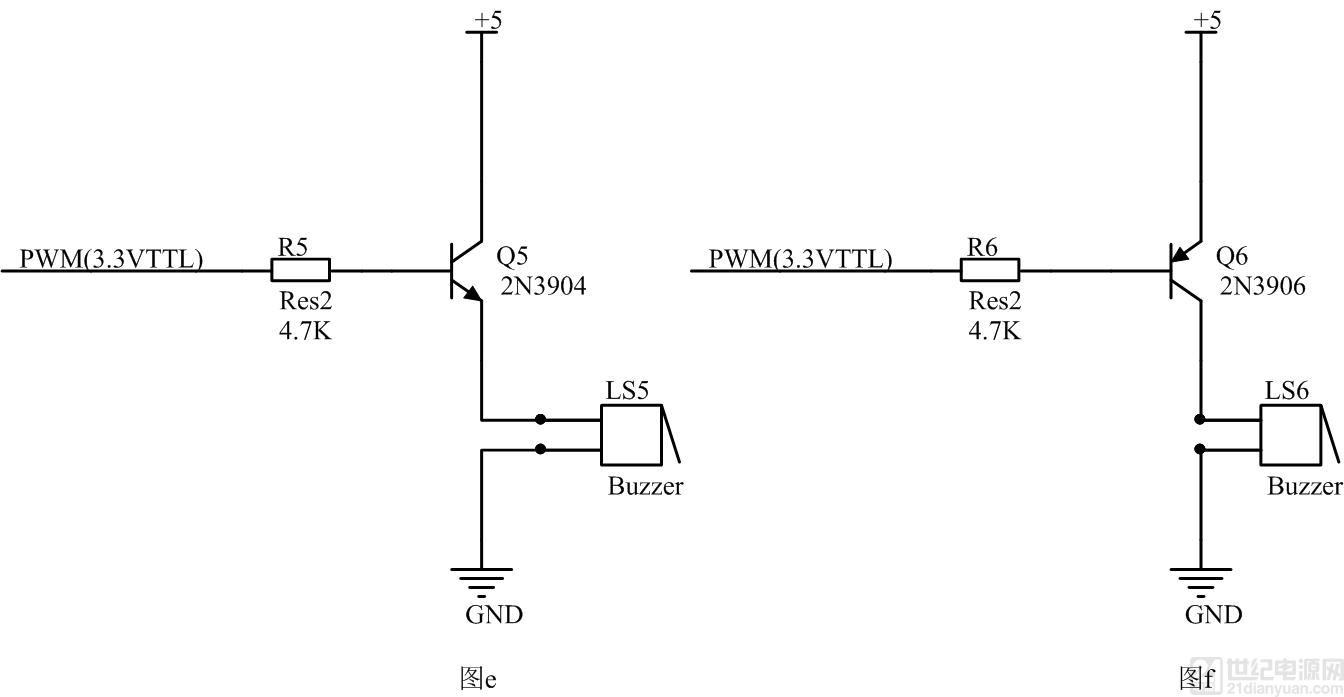 技术 解决方案 正文  图2 图二的两个电路和图一相比,把蜂鸣器接在了