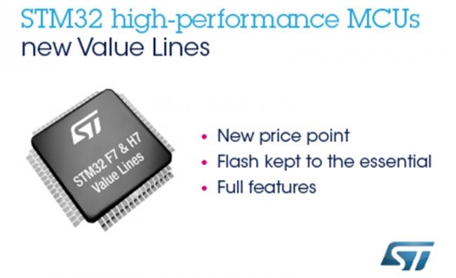 意法半导体全新高性能及超高性能的STM32超值产品线,推动实时物联网设备创新
