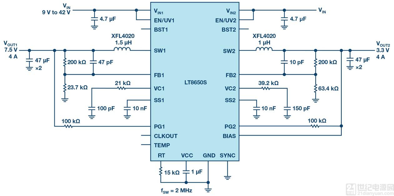 双通道42 V、4 A单片同步降压Silent Switcher@ 2型稳压器,搭载6.2 μA静态电流
