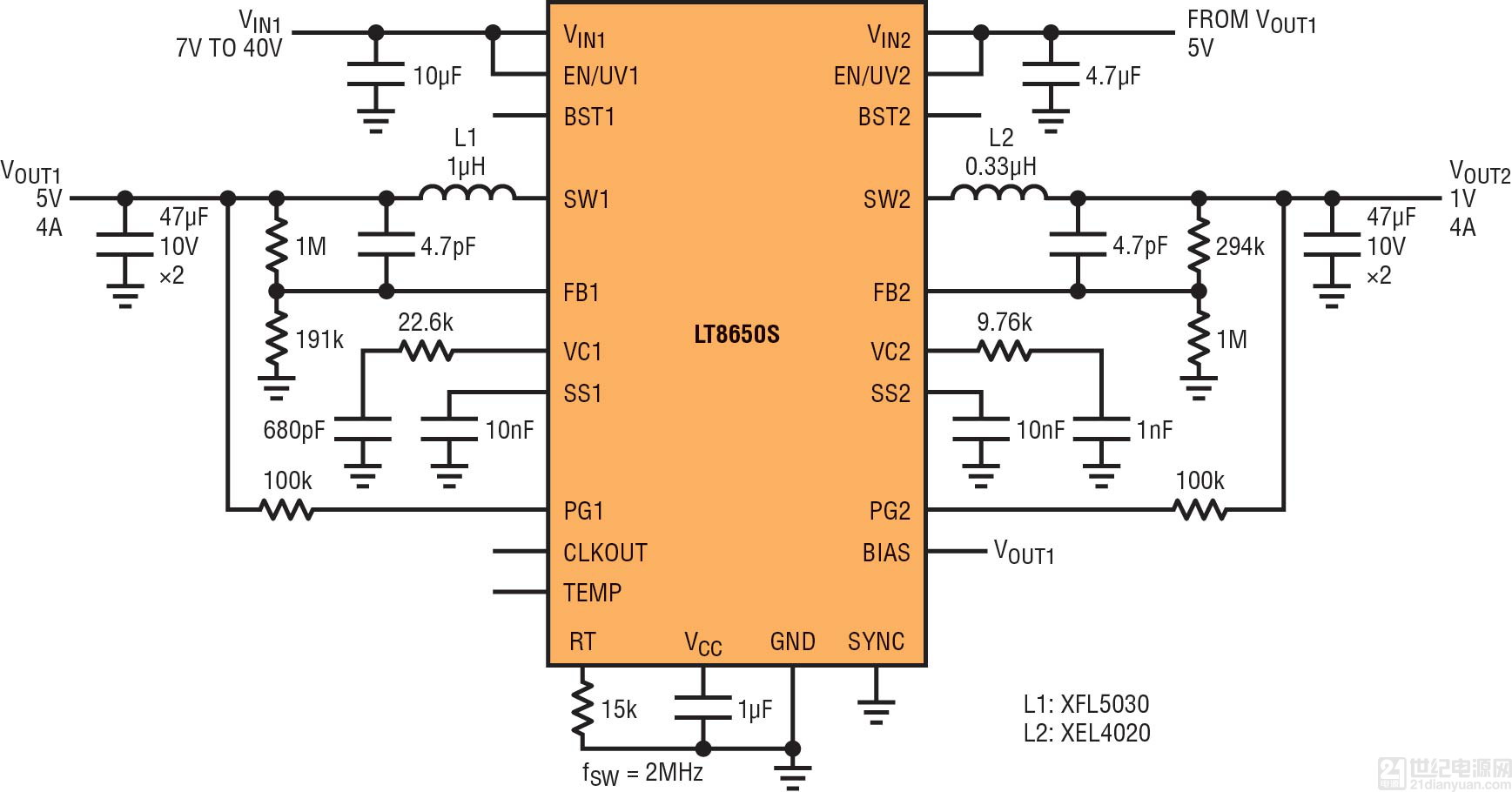 后随                    种较低功率第二级开关稳压器或 ldo 稳压器.