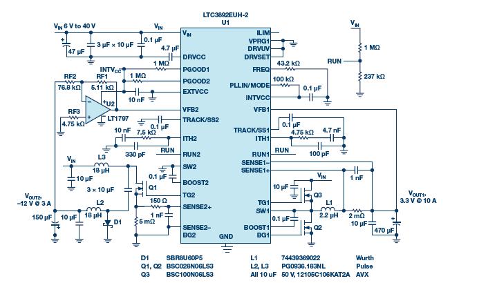 图1.ltc3892的电气原理图,可产生正负电压.v