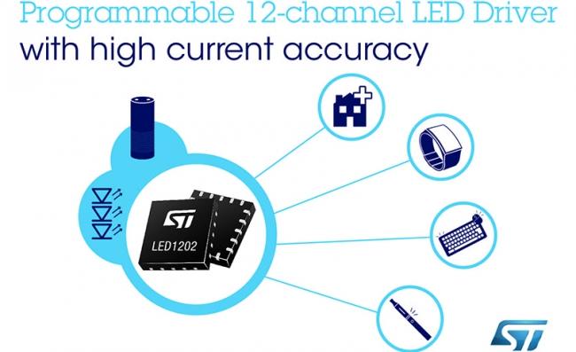 意法半导体发布可编程 12 通道 RGB-LED 驱动器,提升智能设备和穿戴设备照明效果