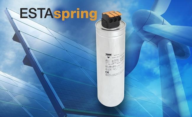 Vishay 推出采用 ESTAspring 的业内首款杠杆操作弹簧接头连接的新型 LVAC 功率电容器