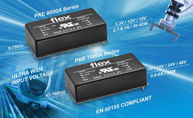 Flex 电源模块面向工业和铁路应用推出超宽输入 DC-DC 转换器