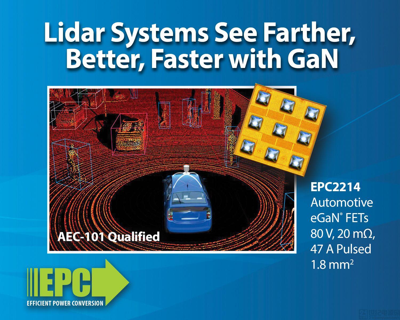 車規級 80 V EPC2214 eGaN®FET 使得激光雷達系統看得更清晰