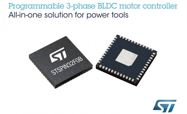 意法半导体 STSPIN32 单 Shunt BLDC 电机控制器可大量节省空间、时间和物料成本