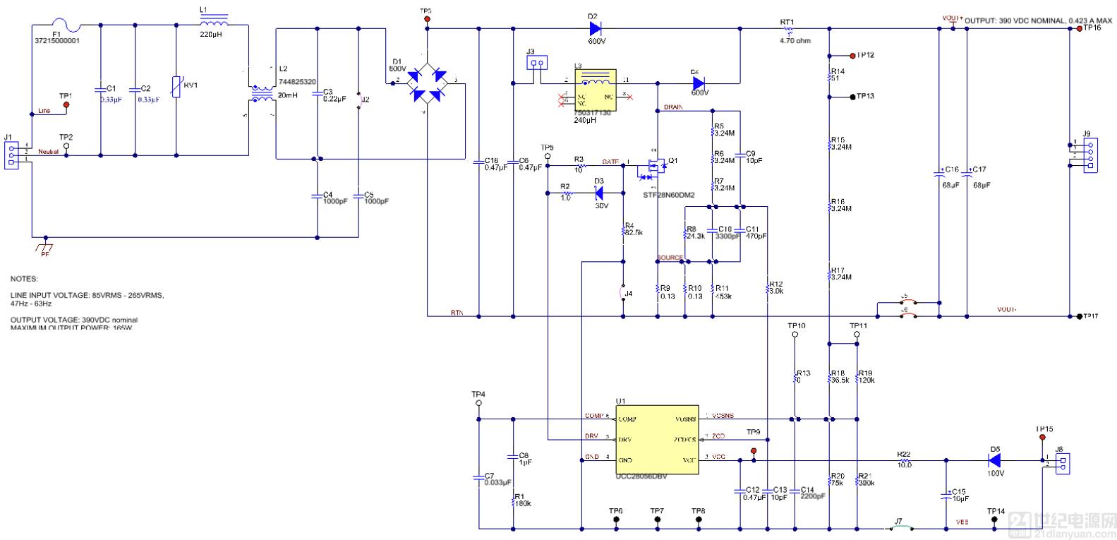在离线应用中采用 UCC28056 来优化效率和待机功耗