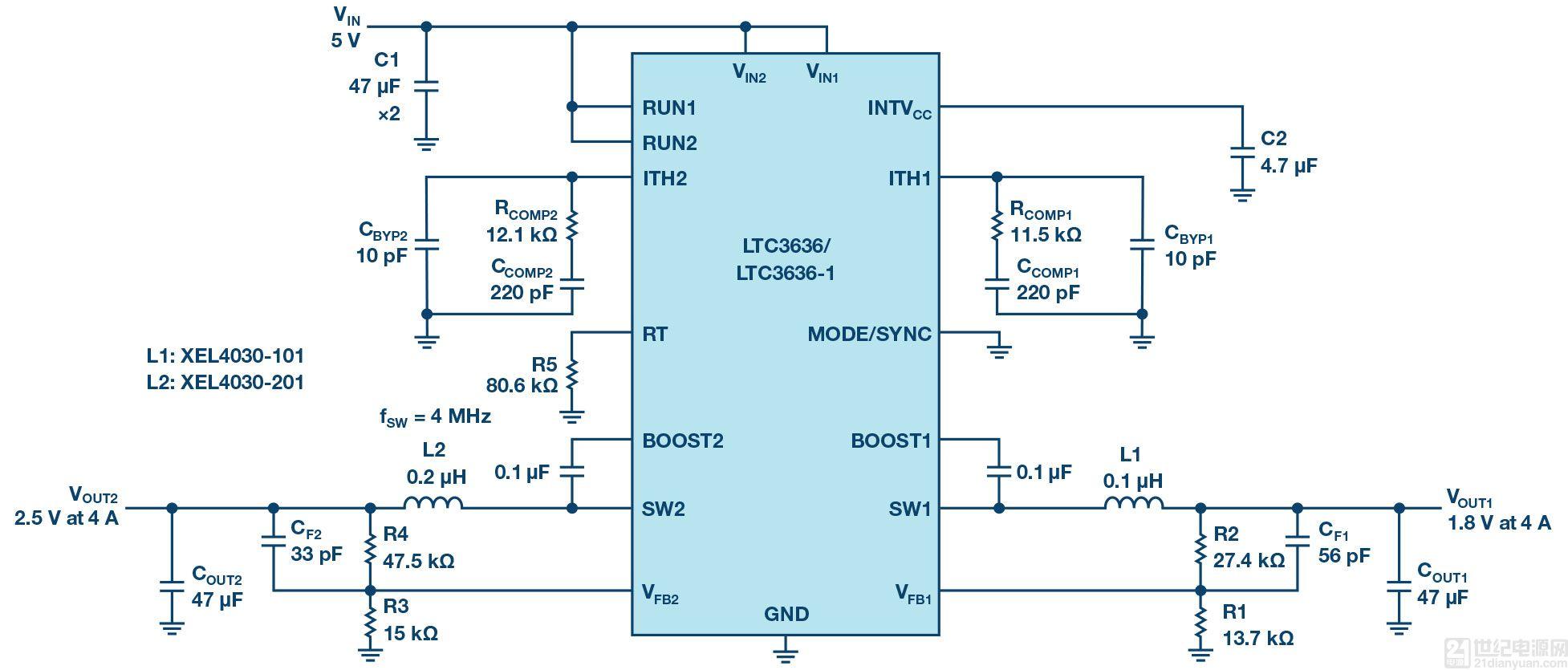 雙通道、6 A 降壓穩壓器提供高效緊湊的解決方案