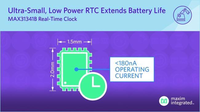 Maxim 發布最新 nanoPower 實時時鐘,提供行業最小封裝和最長電池壽命