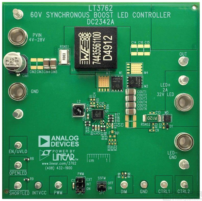 即使在低输入电压下,同步升压型转换器也能为大电流 LED 供电