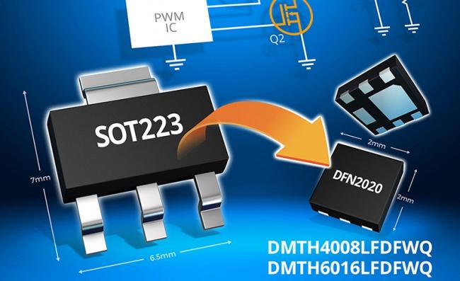 Diodes 公司推出微型车用 MOSFET,可提供更高的功率密度