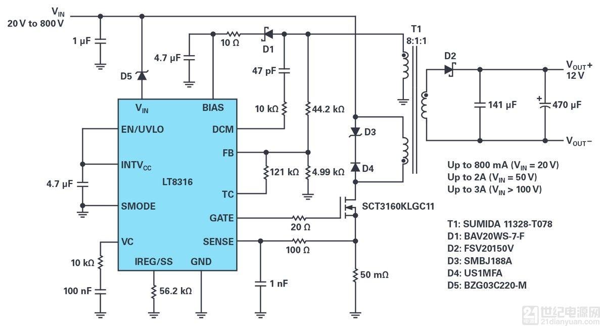 将 600V 输入、非光耦合器隔离反激式控制器的电源电压扩展至 800V 或更高