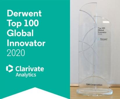 数字化和能源转型领导者 TDK 入选2020年德温特(Derwent)全球创新百强