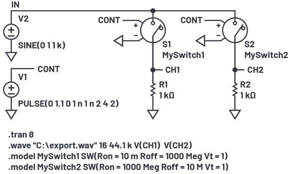 LTspice 音频 WAV 文件:使用立体声和加密语音消息