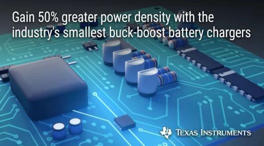 德州仪器推出新型降压-升压电池充电器,实现更大功率密度、通用及快速充电