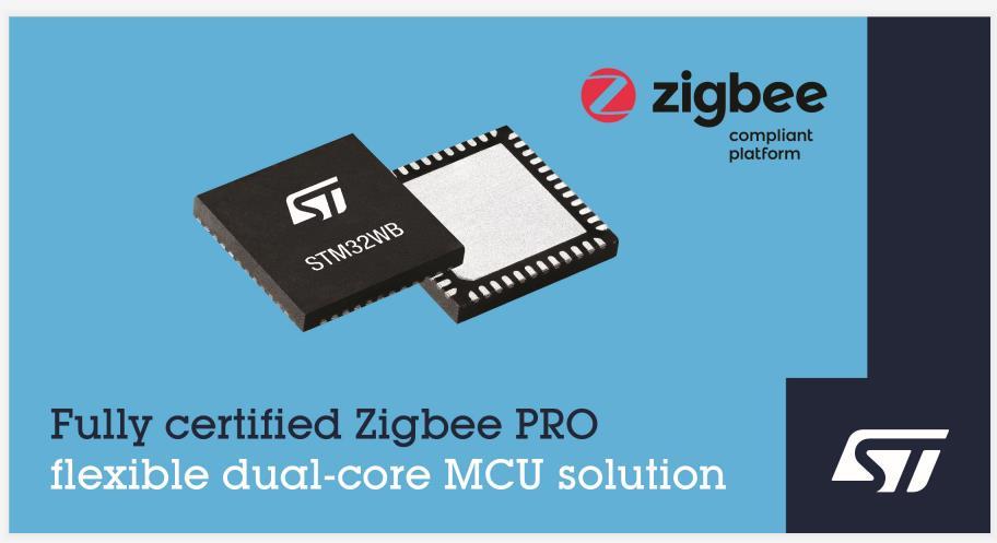 意法半导体 STM32WB 无线微控制器现可支持 Zigbee 3.0