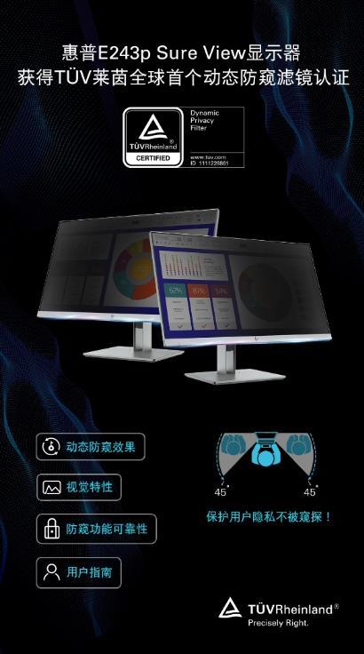 惠普显示器获得 TUV 莱茵全球首个动态防窥滤镜认证