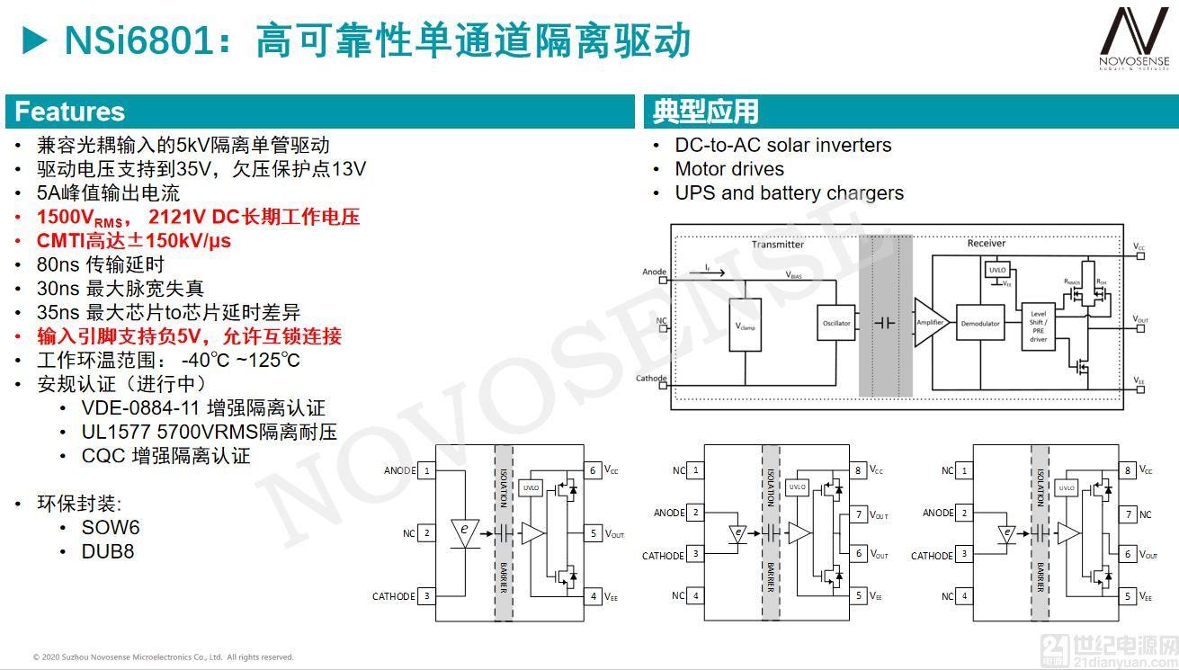性能优异且兼容主流光耦,工业应用隔离驱动首选NSi6801