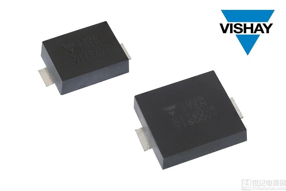 Vishay 推出性能先进的高可靠性表面贴装陶瓷安规电容器