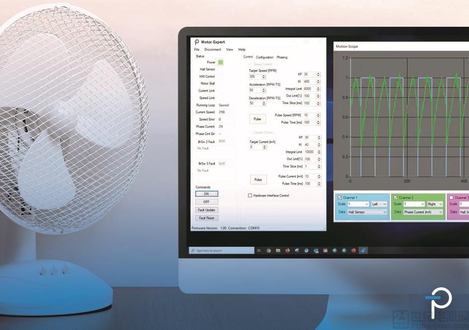 Power Integrations 推出采用 BridgeSwitch IC 作为驱动的单相无刷直流电机精调控制软件